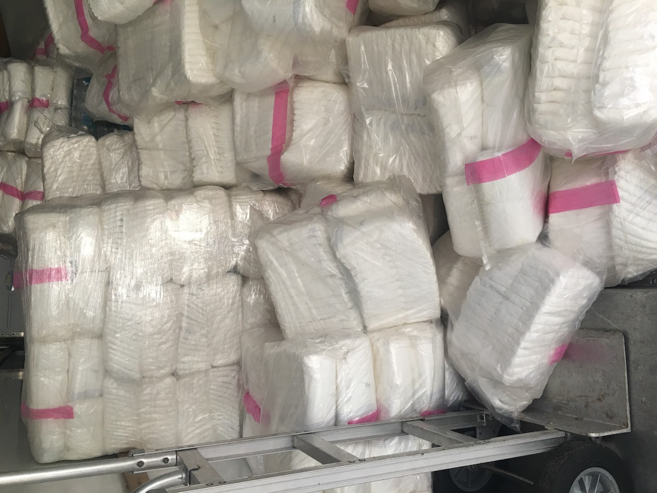 Aereos - A truck load of adult diapers loaded up on Friday morning by Aereos relief workers.