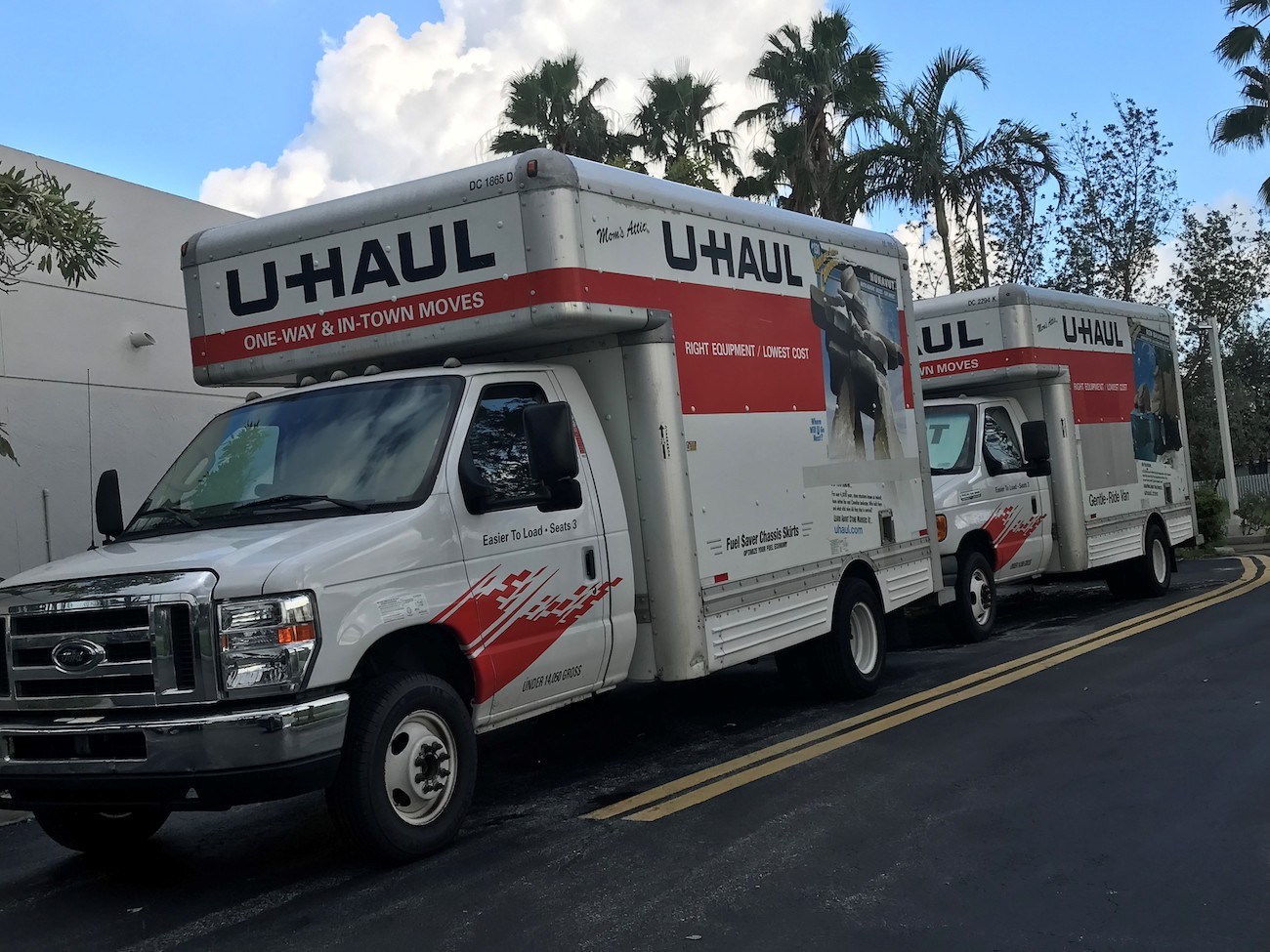 Aereos - Uhaul trucks are being used for transporting relief items from drop off locations to the airport.