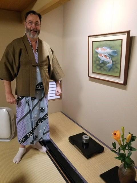 Jon Polliard poses in traditional Japanese Yukata.