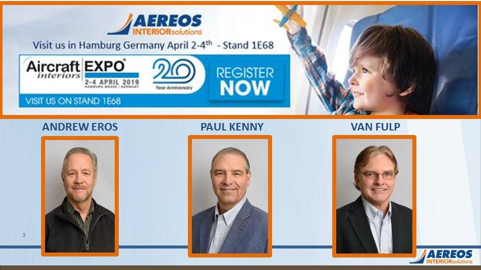 Aereos Interior Solutions Exhibits in Hamburg, Germany Aereos Interiors Solutions is one of some 600 exhibitors in this world class event.